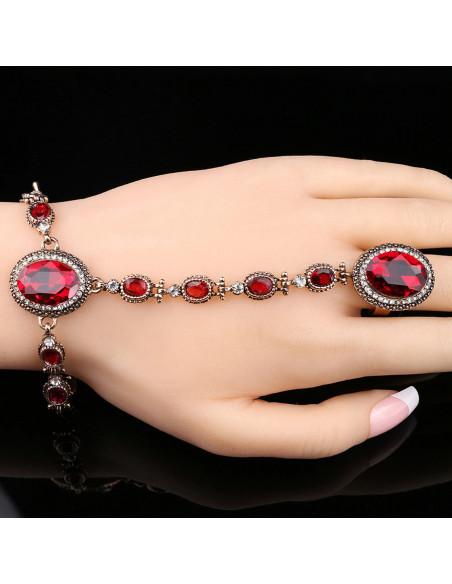 Bratara arabeasca cu inel, cristale rosii si albe si medalioane ovale cu bordura
