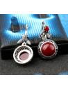 Cercei vintage glam, cu cristale visinii si frunzulite, rama filigranata