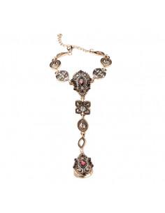Bratara arabeasca cu inel, cristale mov inchis si medalioane ovale auriu patinat