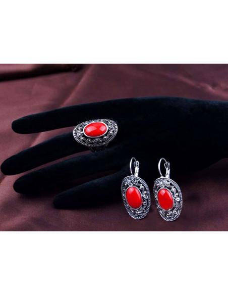 Set vintage, inel si cercei ovali cu pietre rosii bombate si hematite