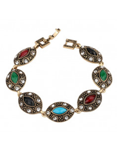 Bratara vintage glam, medalioane cat eye, cristale albe si colorate