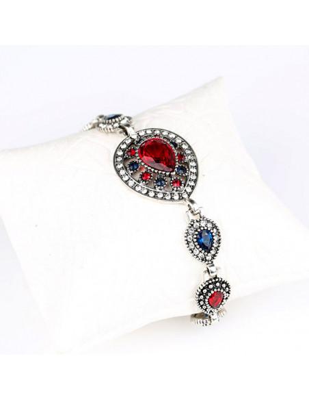 Bratara vintage glam, medalioane picaturi cu cristale rosii si albe
