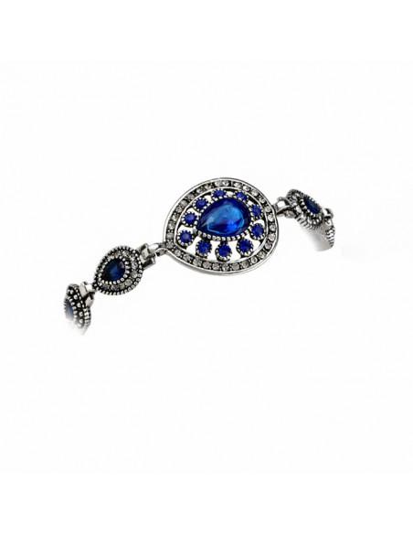 Bratara vintage eleganta, medalioane picaturi cu cristale albastre