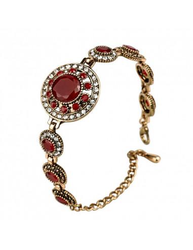 Bratara vintage glam, medalioane rotunde cu cristale rosii si albe