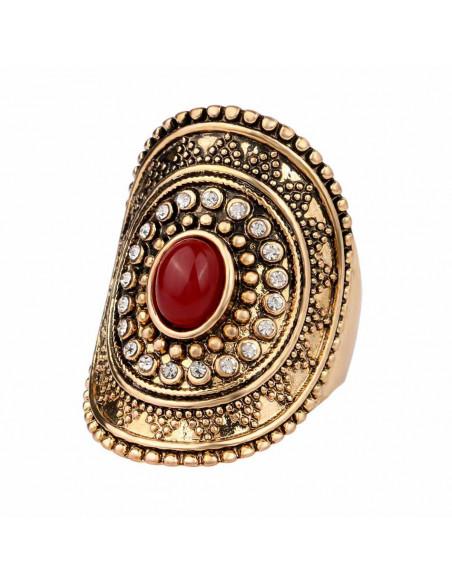 Inel vintage oval, pe lungimea degetului, cu margea colorata si cristale albe