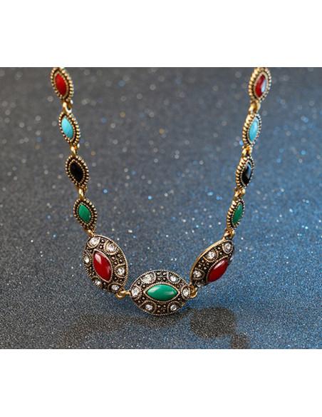 Colier vintage glam, medalioane cat eye cu cristale multicolore