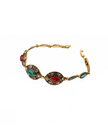 Bratara vintage glam, medalioane cat eye, cristale albe si multicolore
