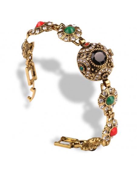 Bratara vintage model turcesc cu medalion central bombat si flori pe laterale