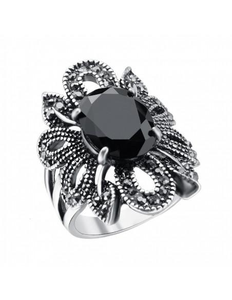 Inel vintage floare argintie, cu hematite si cristal oval negru