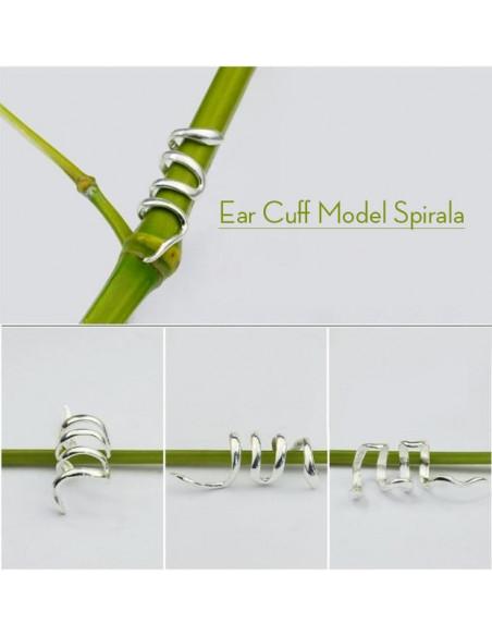 Cercel tip ear cuff, model spirala micuta in jurul urechii, prindere pe ureche