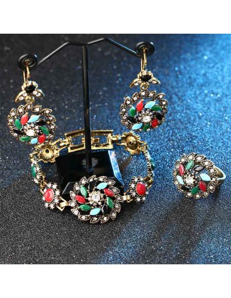 Cercei vintage model elice cu cristale multicolor si frunzulite