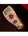 Ceas de mana bratara cu flori si cristale, cu cristale albe in V