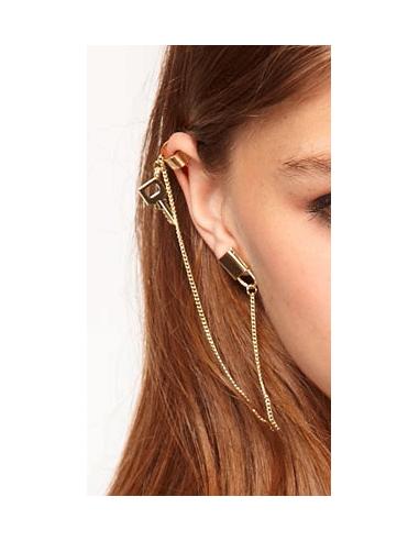 Cercel tip ear cuff, model cu lacat cu cheita si lantisor, prindere pe ureche