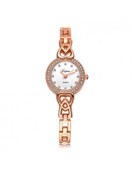 Ceas de dama elegant cu cristale si inimioare pe cadran, bratara subtire simpla