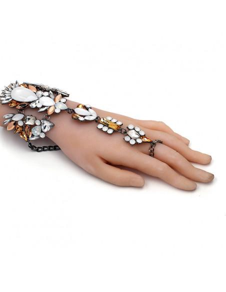 Bratara statement cu inel, cristale mari crem, albe si galbene