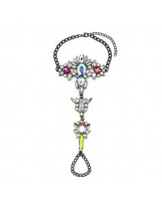 Bratara statement cu inel, cristale mari albe cu reflexii multicolore