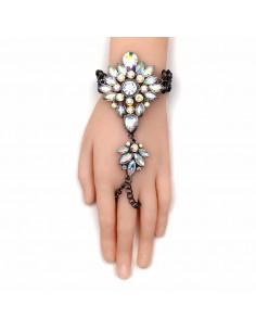 Bratara luxury cu inel, floare din cristale albe cu reflexii multicolore