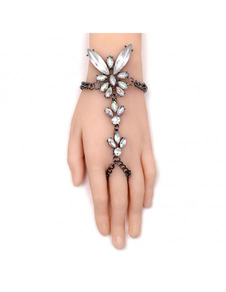 Bratara luxury cu inel, fluture din cristale cu reflexii multicolore