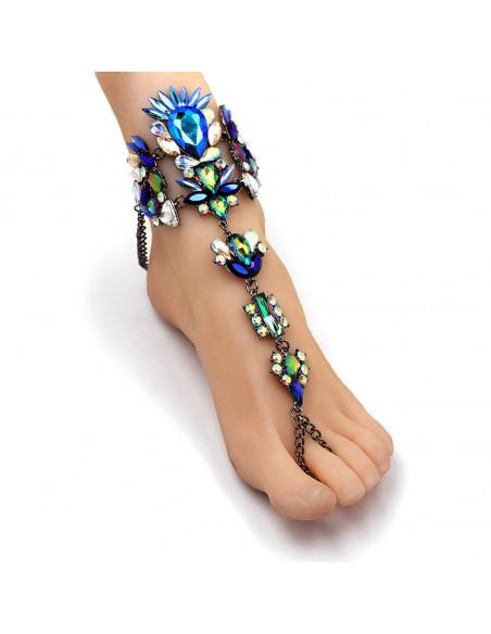 Bratara de picior cu inel, cristale mari albastre, albe si verzi
