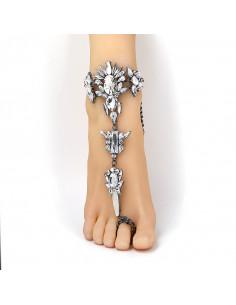 Bratara de picior cu inel, neagra cu cristale mari albe ascutite