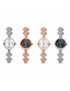 Ceas de dama tip bratara cu romburi si cristale, cadran rotund