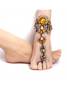 Bratara de picior cu inel, cristale mari galbene, albe si verzi