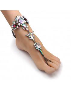 Bratara de picior cu inel, cristale ascutite albe cu reflexii multicolore