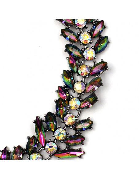 Colier choker luxury din cristale ascutite, albe si multicolore