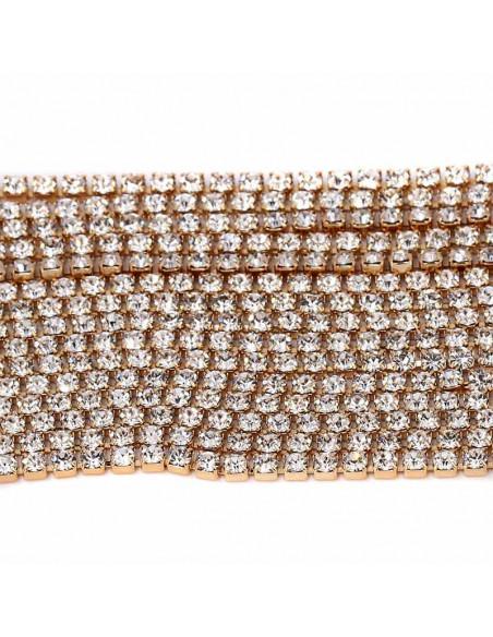 Choker lat luxury, din siruri de cristale in suporturi patrate