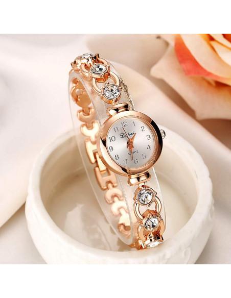 Ceas de mana, auriu, cu cristale mari si rotunde pe curea