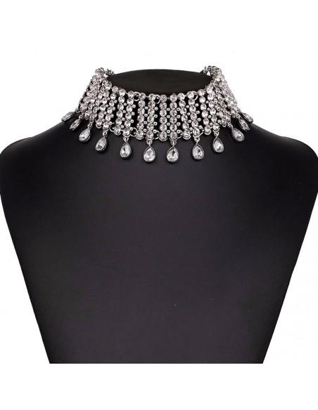 Choker lat luxury, cristale rotunde, picaturi si lanturi