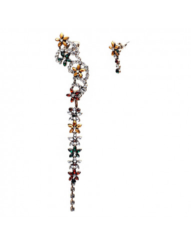 Cercei ear cuff, model asimetric cu flori din cristale colorate