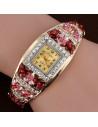Ceas de mana, tip bratara, ornat cu flori colorate si cristale