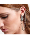 Cercel tip ear cuff, model pana cu lantisor atasat, prindere dubla