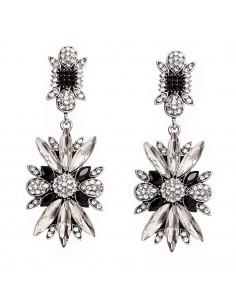 Cercei eleganti, Daisy, flori cu cristale albe si negre