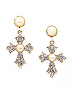Cercei eleganti, cruci aurii cu cristale albe si perle