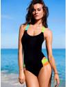 Costum de baie o piesa negru cu barete late colorate