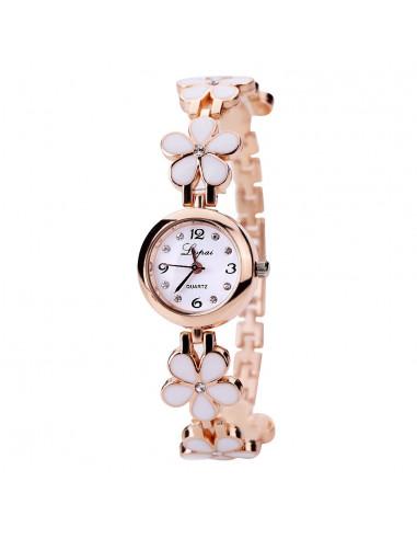 Ceas de dama elegant, curea metalica aurie cu flori delicate si cristale
