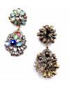 Cercei statement eleganti, flori din cristale multicolore
