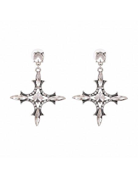 Cercei eleganti, cruci argintii cu brate simetrice si cristale albe