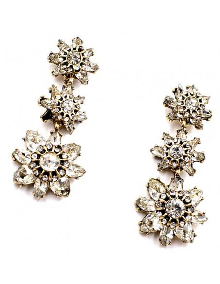 Cercei vintage eleganti, 3 flori cu cristale albe