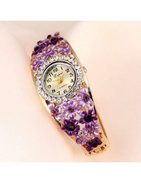 Ceas de mana, tip bratara, cu opt flori si cristale, cadran rotund