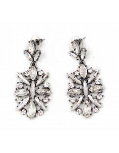 Cercei eleganti luxury cu cristale mari rotunde si alungite