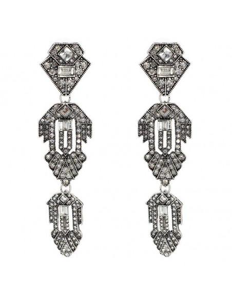 Cercei lungi eleganti model geometric cu triunghiuri si cristale