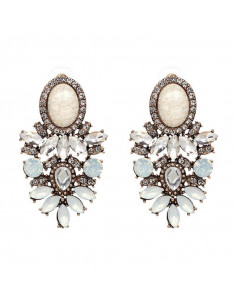 Cercei statement eleganti cu cristale mari floare si medalion oval in ureche