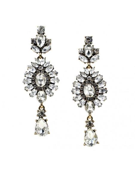 Cercei eleganti cu cristale albe ovale si lacrima, 3 elemente