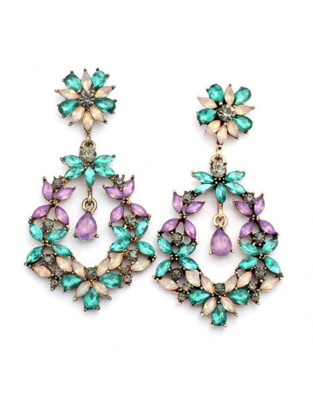 Cercei cu cristale colorate in forma de floricele, rotunzi cu lacrima