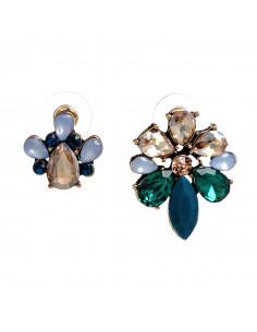 Cercei luxury asimetrici, flori din cristale albe si colorate