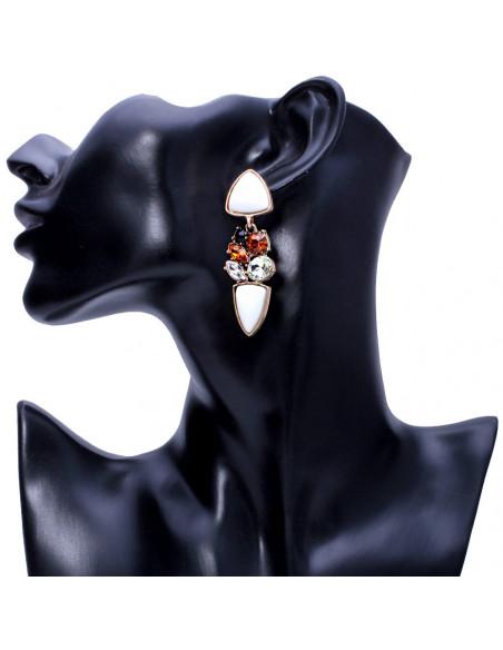 Cercei eleganti albi, cu cristale albe, maro si negre
