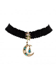 Colier choker din dantela cu medalion semiluna cu perle